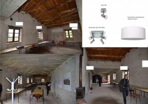 projection :éclairage prévu pour la grande salle.