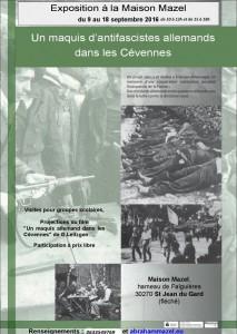 """Exposition """"Un maquis d'antifascistes allemands en Cévennes"""" @ Maison Mazel"""
