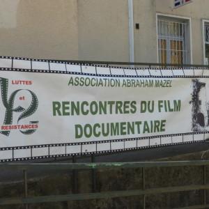 Devant la salle Stevenson:banderolle des rencontres du film.