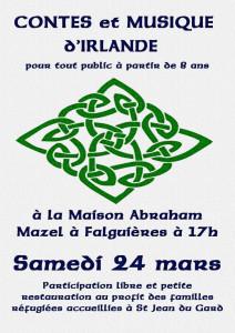 Soirée contes et musique irlandais au profit des familles de réfugiés accueillies à St Jean du Gard @ Maison Mazel