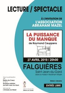 """Théâtre """"La puissance du manque"""" Raymond Ceuppens @ Maison Abraham Mazel"""